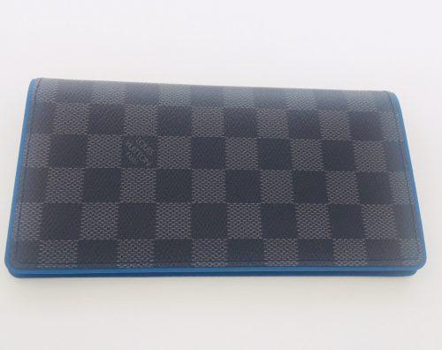 ルイヴィトン ダミエグラフィット 2つ折り長財布 ポルトフォイユブラザ ブルー N64430