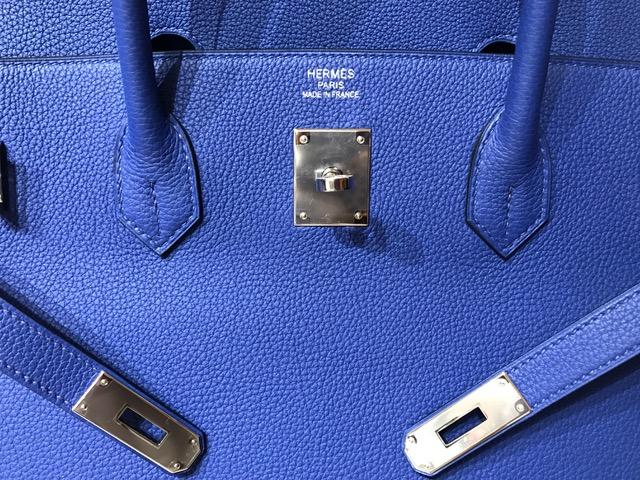 エルメス バーキン40 トゴ ブルーエレクトリック シルバー金具 A刻印