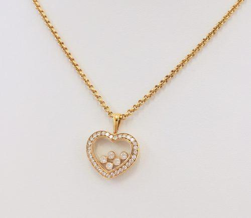 ショパール ハッピーダイヤモンド ハートモチーフ ネックレス 5Pダイヤ K18YG