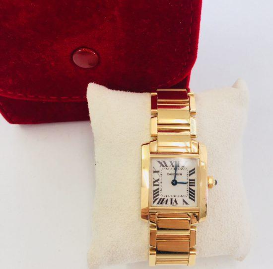 カルティエ タンクフランセーズSM K18YG レディース 時計 クォーツ アイボリー文字盤 W50002N2