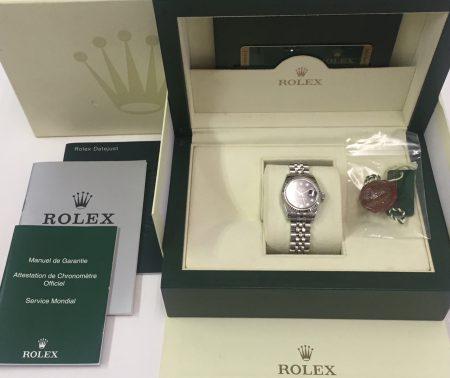 ROLEX デイトジャスト 179174G レディース 黒文字盤 10Pダイヤ