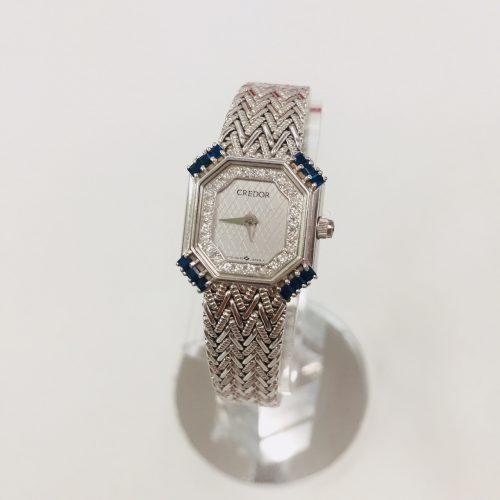 セイコー クレドール K18WG ダイヤ サファイア レディース 時計