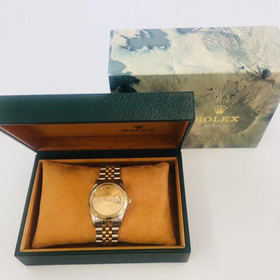 ロレックス デイトジャスト 16233G コンビ シャンパン文字盤 10Pダイヤ メンズ