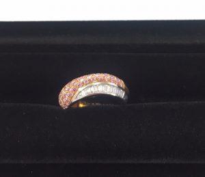 ブシュロン ダイヤモンド デザインリング K18PG WG ピンクダイヤ