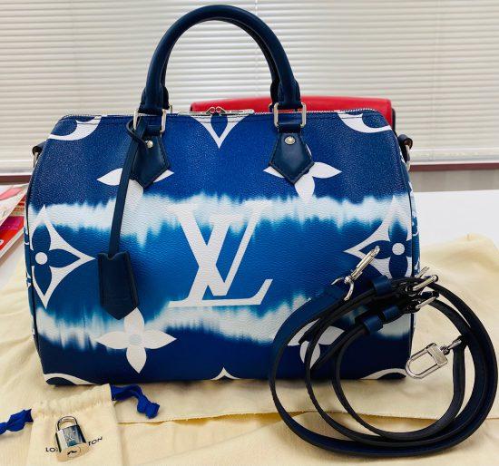 ルイ・ヴィトン LVエスカル スピーディバンドリエール 30cm 2Wayバッグ ブルー M45146